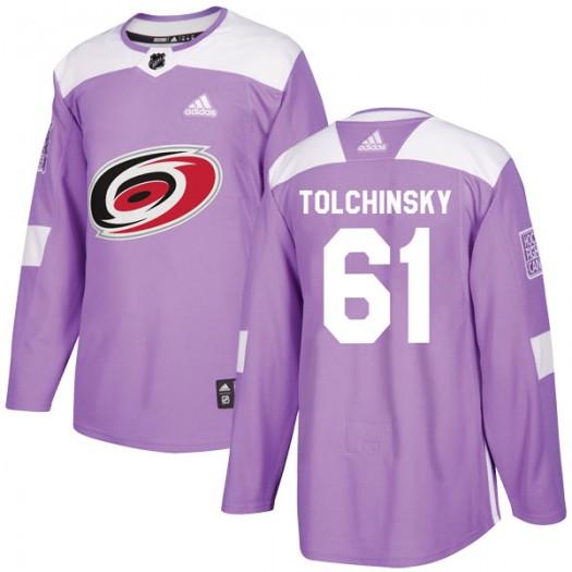 Sergey Tolchinsky Carolina Hurricanes Men's Adidas Authentic Purple Fights Cancer Practice Jersey