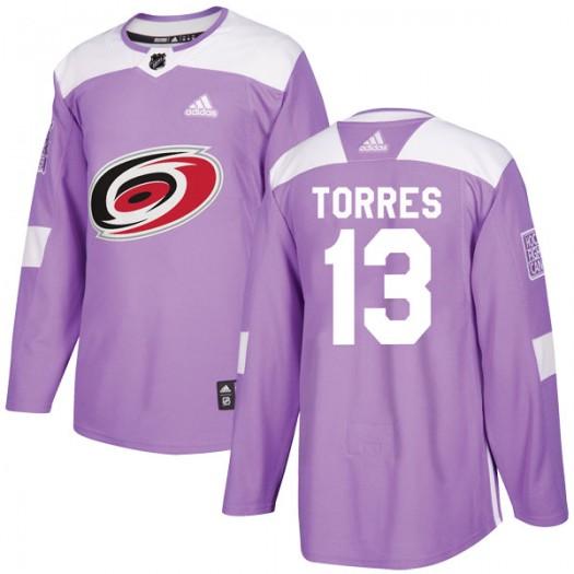 Raffi Torres Carolina Hurricanes Men's Adidas Authentic Purple Fights Cancer Practice Jersey