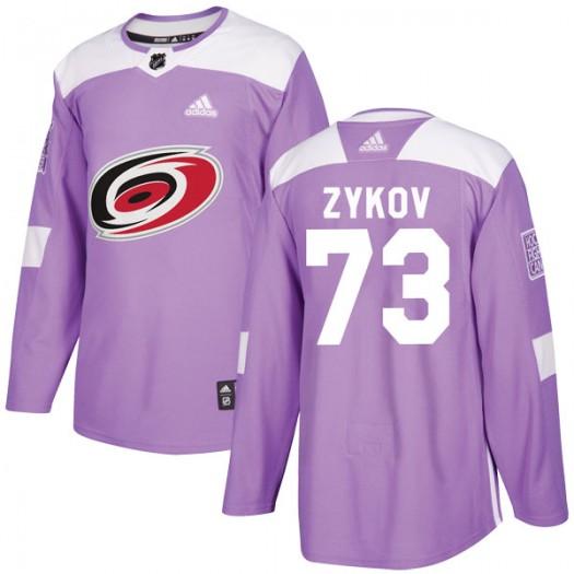 Valentin Zykov Carolina Hurricanes Men's Adidas Authentic Purple Fights Cancer Practice Jersey