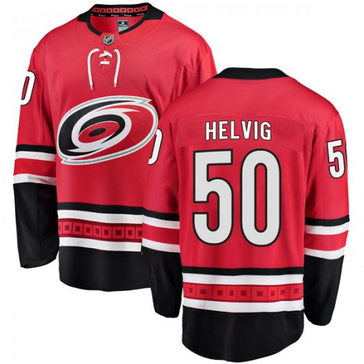 Jeremy Helvig Carolina Hurricanes Youth Fanatics Branded Red Breakaway Home Jersey
