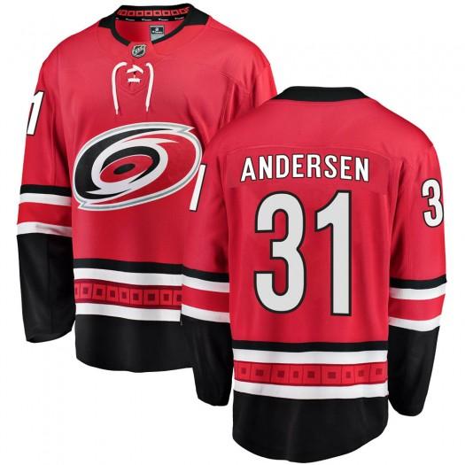 Frederik Andersen Carolina Hurricanes Men's Fanatics Branded Red Breakaway Home Jersey