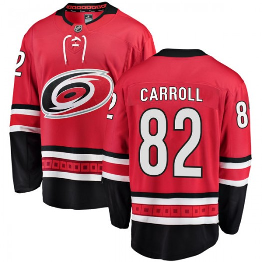 Noah Carroll Carolina Hurricanes Men's Fanatics Branded Red Breakaway Home Jersey