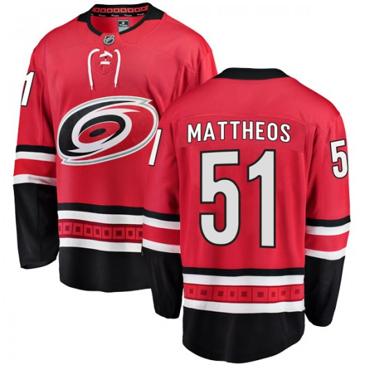 Stelio Mattheos Carolina Hurricanes Men's Fanatics Branded Red Breakaway Home Jersey