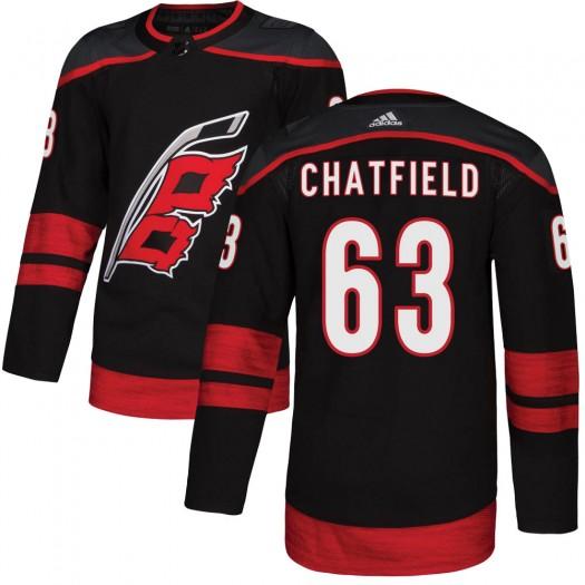 Jalen Chatfield Carolina Hurricanes Men's Adidas Authentic Black Alternate Jersey