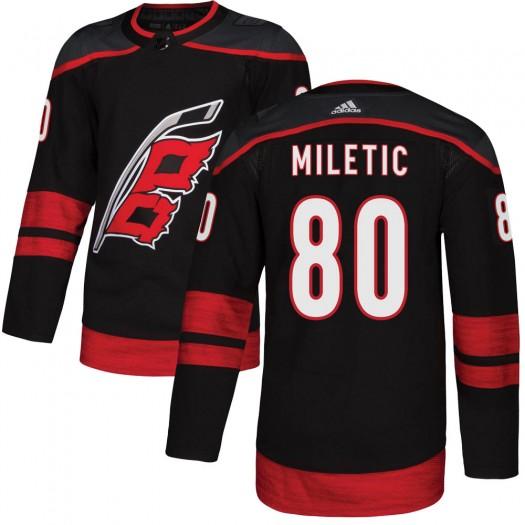 Sam Miletic Carolina Hurricanes Men's Adidas Authentic Black Alternate Jersey