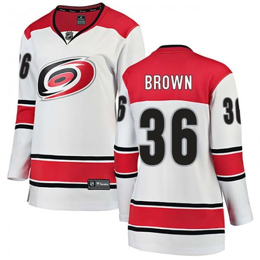 Patrick Brown Carolina Hurricanes Women's Fanatics Branded White Breakaway Away Jersey