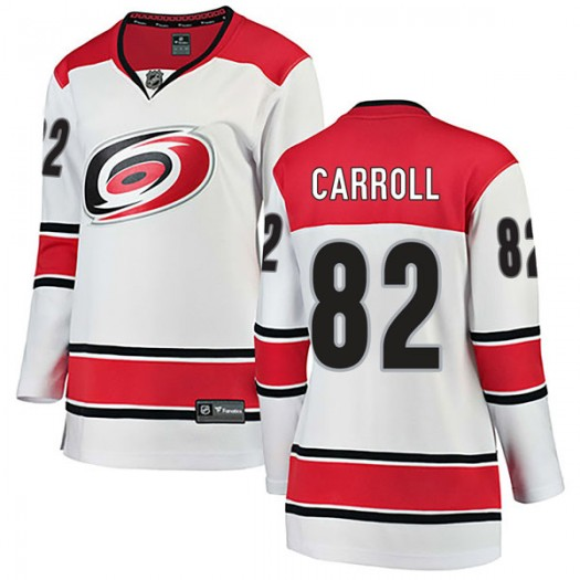Noah Carroll Carolina Hurricanes Women's Fanatics Branded White Breakaway Away Jersey