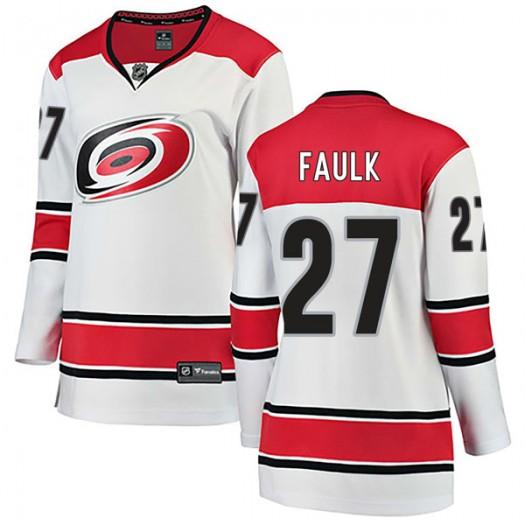 Justin Faulk Carolina Hurricanes Women's Fanatics Branded White Breakaway Away Jersey