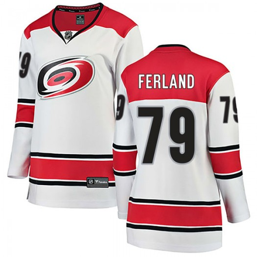 Micheal Ferland Carolina Hurricanes Women's Fanatics Branded White Breakaway Away Jersey