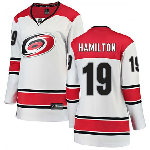 Dougie Hamilton Carolina Hurricanes Women's Fanatics Branded White Breakaway Away Jersey