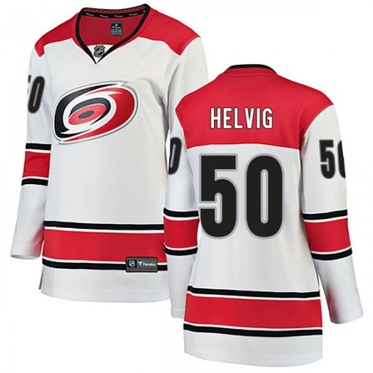 Jeremy Helvig Carolina Hurricanes Women's Fanatics Branded White Breakaway Away Jersey