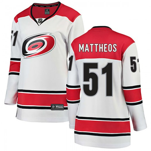 Stelio Mattheos Carolina Hurricanes Women's Fanatics Branded White Breakaway Away Jersey