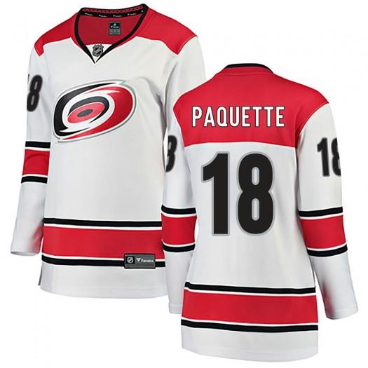 Cedric Paquette Carolina Hurricanes Women's Fanatics Branded White Breakaway Away Jersey