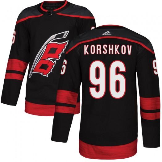 Egor Korshkov Carolina Hurricanes Youth Adidas Authentic Black Alternate Jersey