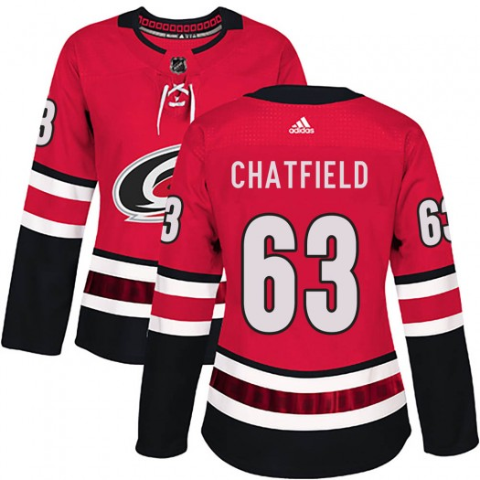 Jalen Chatfield Carolina Hurricanes Women's Adidas Authentic Red Home Jersey
