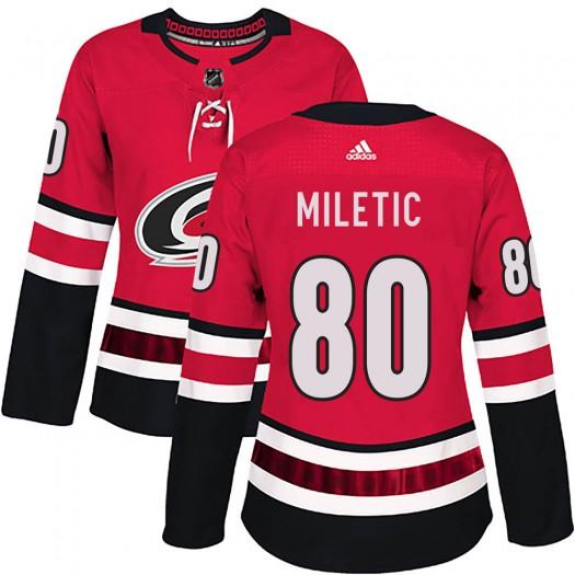 Sam Miletic Carolina Hurricanes Women's Adidas Authentic Red Home Jersey