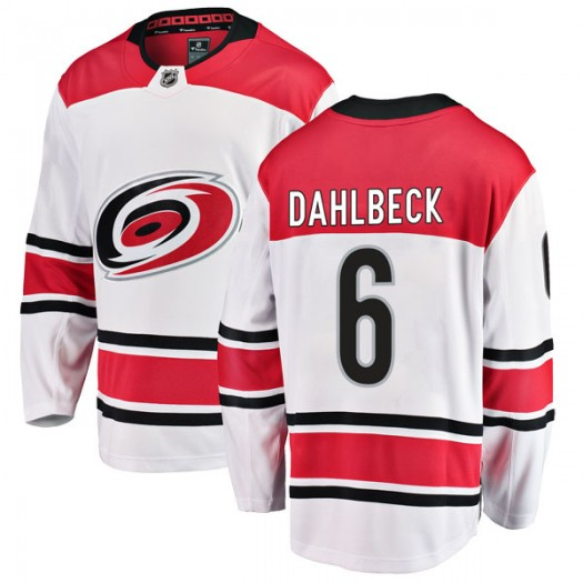 Klas Dahlbeck Carolina Hurricanes Youth Fanatics Branded White Breakaway Away Jersey