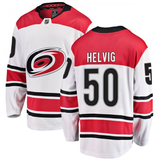 Jeremy Helvig Carolina Hurricanes Youth Fanatics Branded White Breakaway Away Jersey