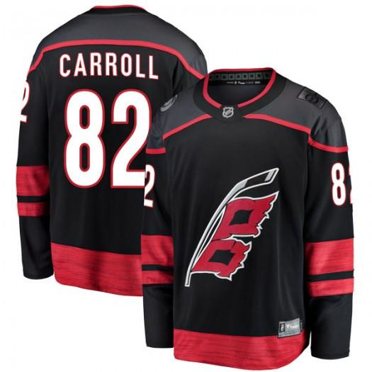 Noah Carroll Carolina Hurricanes Men's Fanatics Branded Black Breakaway Alternate Jersey