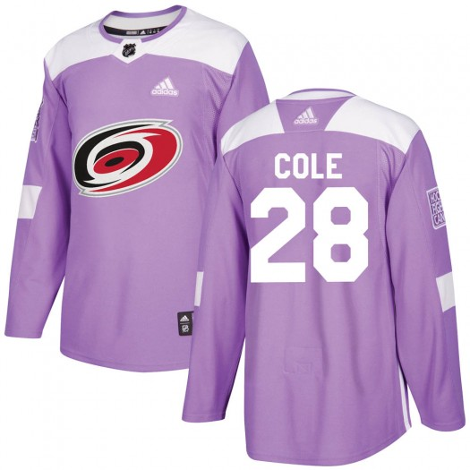 Ian Cole Carolina Hurricanes Youth Adidas Authentic Purple Fights Cancer Practice Jersey