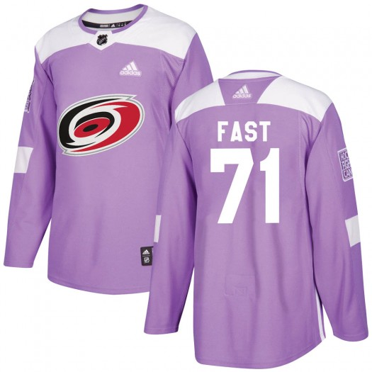 Jesper Fast Carolina Hurricanes Youth Adidas Authentic Purple Fights Cancer Practice Jersey