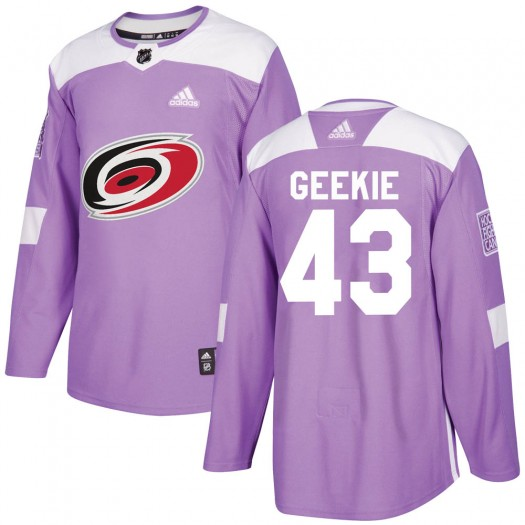 Morgan Geekie Carolina Hurricanes Youth Adidas Authentic Purple ized Fights Cancer Practice Jersey