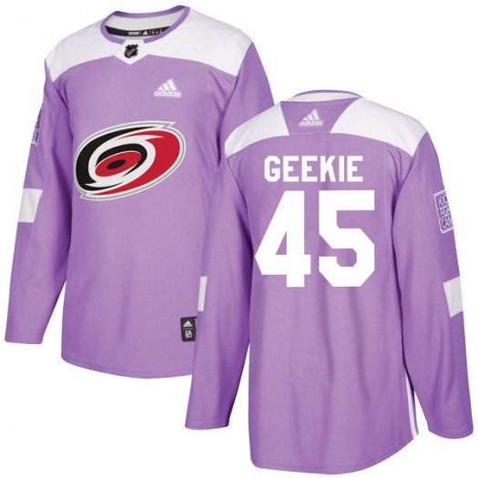 Morgan Geekie Carolina Hurricanes Youth Adidas Authentic Purple Fights Cancer Practice Jersey