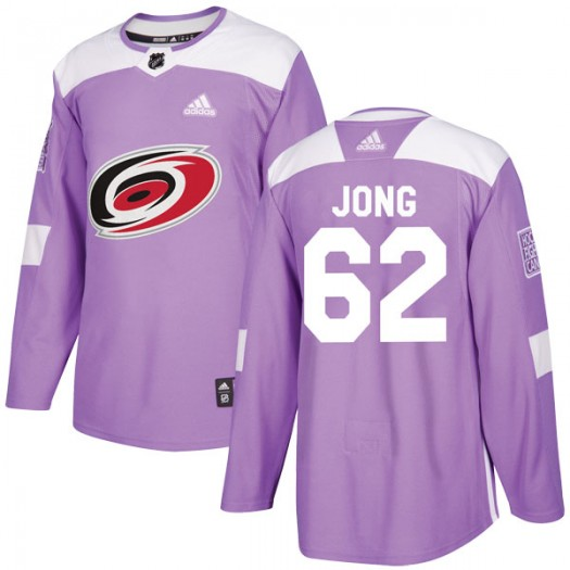 Brendan De Jong Carolina Hurricanes Youth Adidas Authentic Purple Fights Cancer Practice Jersey