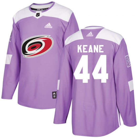 Joey Keane Carolina Hurricanes Youth Adidas Authentic Purple Fights Cancer Practice Jersey
