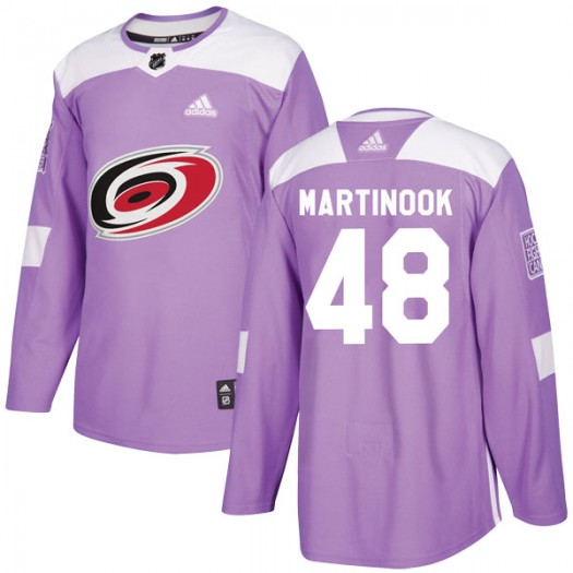 Jordan Martinook Carolina Hurricanes Youth Adidas Authentic Purple Fights Cancer Practice Jersey