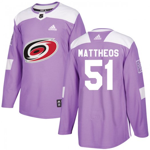 Stelio Mattheos Carolina Hurricanes Youth Adidas Authentic Purple Fights Cancer Practice Jersey