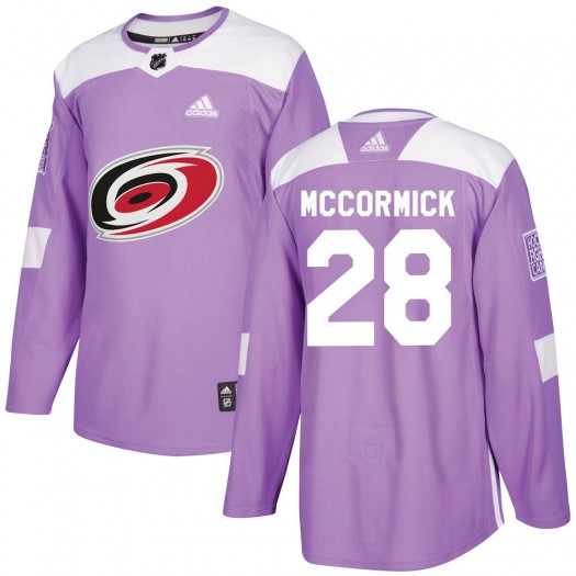 Max McCormick Carolina Hurricanes Youth Adidas Authentic Purple ized Fights Cancer Practice Jersey