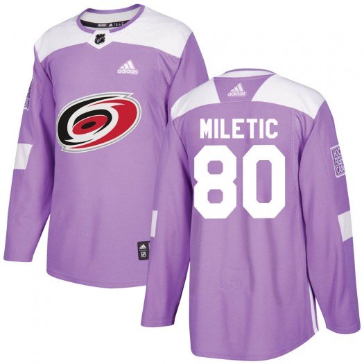 Sam Miletic Carolina Hurricanes Youth Adidas Authentic Purple Fights Cancer Practice Jersey