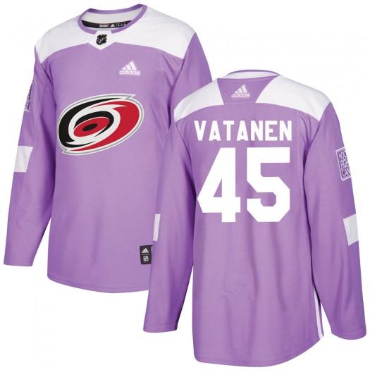 Sami Vatanen Carolina Hurricanes Youth Adidas Authentic Purple ized Fights Cancer Practice Jersey