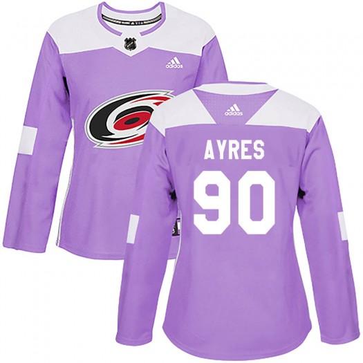 David Ayres Carolina Hurricanes Women's Adidas Authentic Purple Fights Cancer Practice Jersey