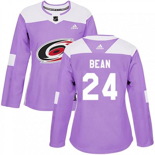 Jake Bean Carolina Hurricanes Women's Adidas Authentic Purple Fights Cancer Practice Jersey