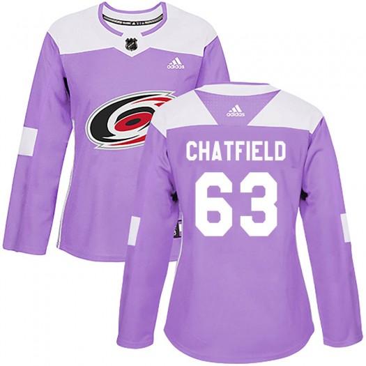 Jalen Chatfield Carolina Hurricanes Women's Adidas Authentic Purple Fights Cancer Practice Jersey