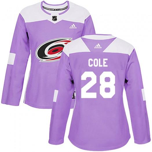 Ian Cole Carolina Hurricanes Women's Adidas Authentic Purple Fights Cancer Practice Jersey
