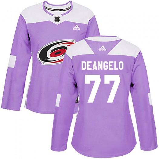 Tony DeAngelo Carolina Hurricanes Women's Adidas Authentic Purple Fights Cancer Practice Jersey