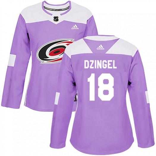 Ryan Dzingel Carolina Hurricanes Women's Adidas Authentic Purple Fights Cancer Practice Jersey