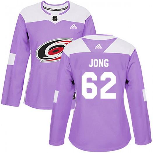 Brendan De Jong Carolina Hurricanes Women's Adidas Authentic Purple Fights Cancer Practice Jersey