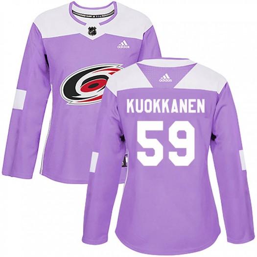 Janne Kuokkanen Carolina Hurricanes Women's Adidas Authentic Purple Fights Cancer Practice Jersey