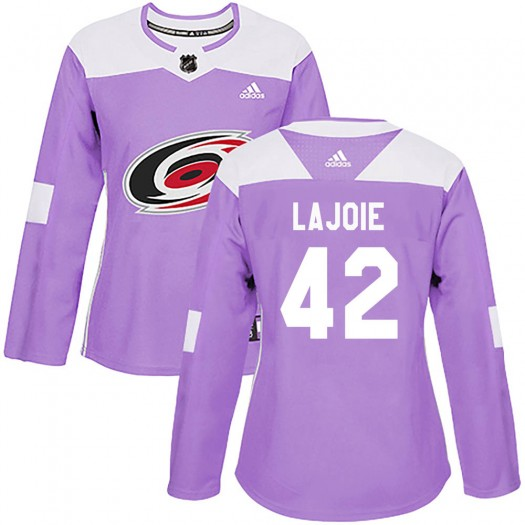 Maxime Lajoie Carolina Hurricanes Women's Adidas Authentic Purple Fights Cancer Practice Jersey