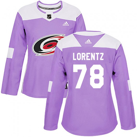 Steven Lorentz Carolina Hurricanes Women's Adidas Authentic Purple Fights Cancer Practice Jersey