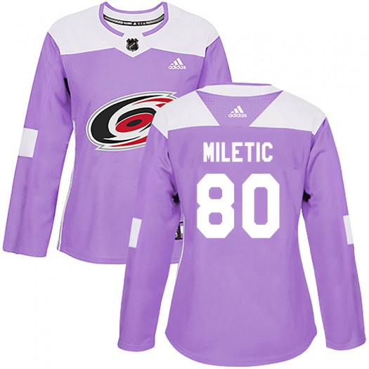 Sam Miletic Carolina Hurricanes Women's Adidas Authentic Purple Fights Cancer Practice Jersey