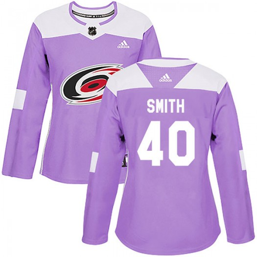 Jeremy Smith Carolina Hurricanes Women's Adidas Authentic Purple Fights Cancer Practice Jersey