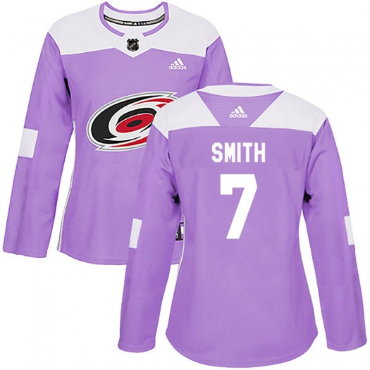 Brendan Smith Carolina Hurricanes Women's Adidas Authentic Purple Fights Cancer Practice Jersey