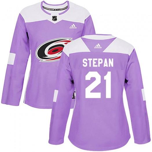 Derek Stepan Carolina Hurricanes Women's Adidas Authentic Purple Fights Cancer Practice Jersey