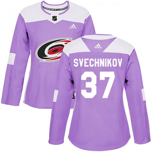 Andrei Svechnikov Carolina Hurricanes Women's Adidas Authentic Purple Fights Cancer Practice Jersey