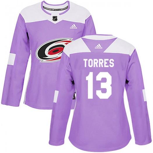 Raffi Torres Carolina Hurricanes Women's Adidas Authentic Purple Fights Cancer Practice Jersey